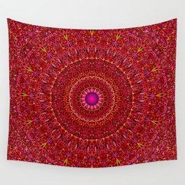 Red Jungle Mandala Wall Tapestry