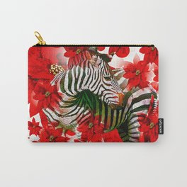 Zebra and Red Flowers  Carry-All Pouch