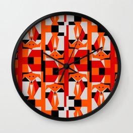 Geometric Dancing Foxes Wall Clock