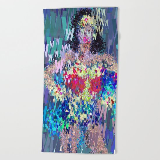 Wonder Type Woman - Abstract Pop Art Comic Beach Towel