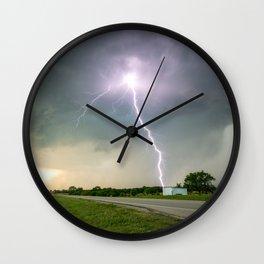Close Call - Lightning Strike in Kansas Storm Wall Clock