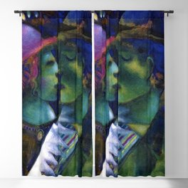 Green Lovers romantic Paris portrait painting by Marc Chagall Blackout Curtain