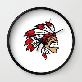 American indian man. Mascot. Kentucky. Wall Clock