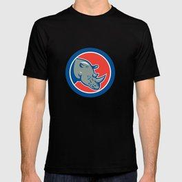 Rhinoceros Head Circle Cartoon T-shirt
