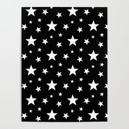 Stars pattern black and white Poster