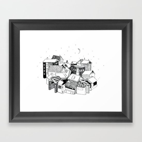 Book Town Framed Art Print