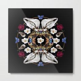 Horse Skulls And Deaths Head Moths Mandala Metal Print