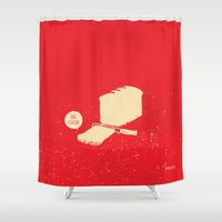 bread Shower Curtains featuring Bread & Knife by SAFWTF