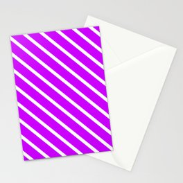 Neon Purple Diagonal Stripes Stationery Cards