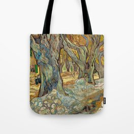 Vincent van Gogh - The Large Plane Trees (Road Menders at Saint-Rémy) 1889 Tote Bag
