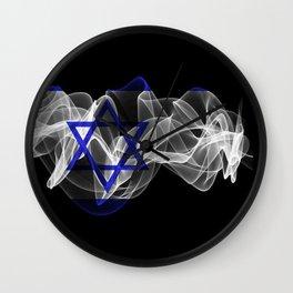 Israel Smoke Flag on Black Background, Israel flag Wall Clock