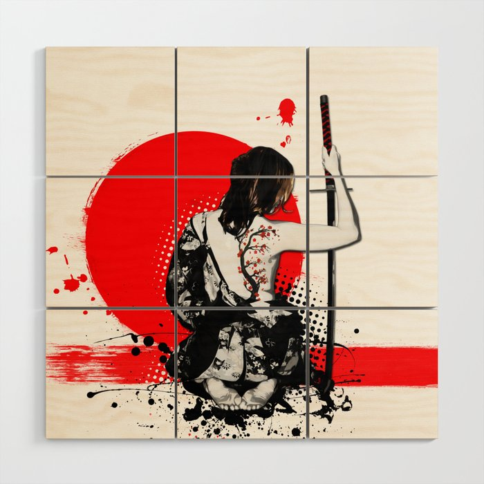Trash Polka - Female Samurai Wood Wall Art by nicklasgustafsson ...