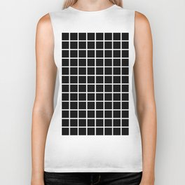 Back to School- Simple Grid Pattern- Black & White- Mix & Match with Simplicity of Life Biker Tank