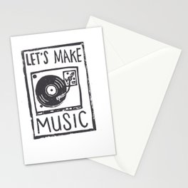 let's make music, hand-carved linoleum block print Stationery Cards