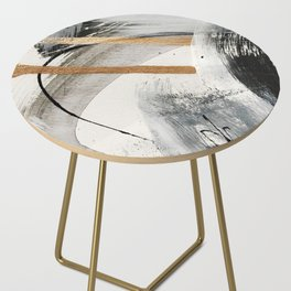Armor [7]: a bold minimal abstract mixed media piece in gold, black and white Side Table