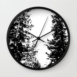 Colorado Pines Black and White Wall Clock