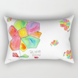 """Bloom Your LOVE"" Original Watercolor Painting by Lenna Arty Rectangular Pillow"