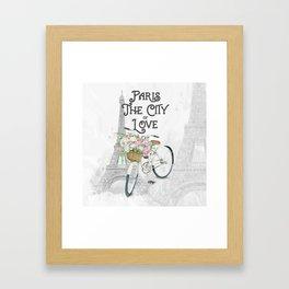 Vintage Paris Bicycle with Flowers Framed Art Print