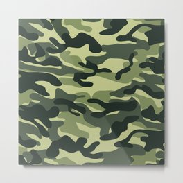 Green Military Camouflage Pattern Metal Print