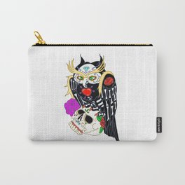 Sugar Skull Owl And Skull Carry-All Pouch