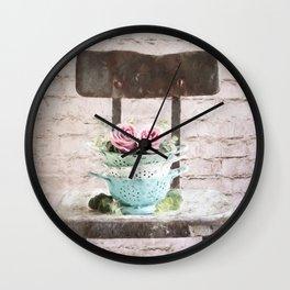 Colander Roses Wall Clock