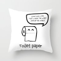 toilet Throw Pillows featuring TOILET PAPER  by d.ts