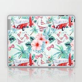Retro 60s Bus, Surfboard, Bikini, Palm Trees, Beach Scene Laptop & iPad Skin