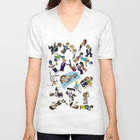 cartoons V-neck T-shirts featuring 2013 Cartoons 1 by Reid