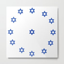 Star of David. A Clock.-Magen David,israel,judaism,bible, מָגֵן דָּוִד, jerusalem Metal Print