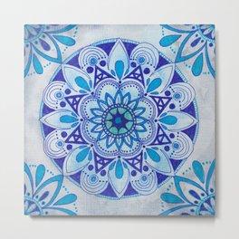 Simpe Blue Mandala Metal Print