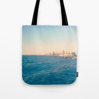 cleveland Tote Bags featuring Cleveland Skyline  by Julia Blanchette
