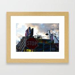 Stop Sign and King Kong Framed Art Print