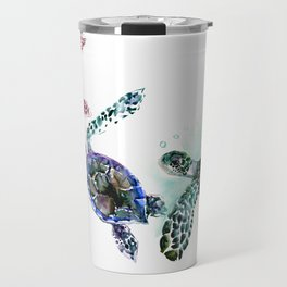 Sea Turtle Family, family art Travel Mug