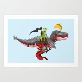 Dino Knight T-Rex II Art Print