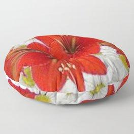 RED AMARYLLIS WHITE DAISIES FLORAL ART Floor Pillow