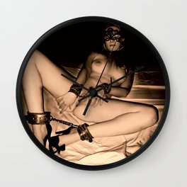 Erotic photography in vintage, sepia style, good pet cuffed pleasuring herself for Master Wall Clock