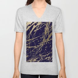 Elegant faux gold modern navy blue paint splatters Unisex V-Neck