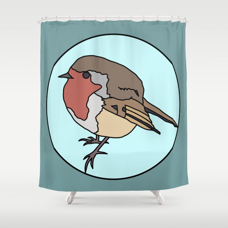 Robin - Robin Redbreast Shower Curtain by Mothpathtags (CTN8909815) photo