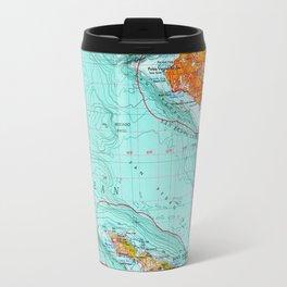 Long Beach colorful old map Travel Mug