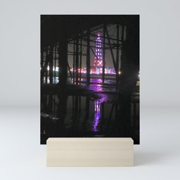 Reflection In Water of Blackpool Tower At Night  Mini Art Print