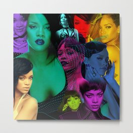 Rihanna - Celebrity (Collage Art - Florescent Color Technique) Metal Print