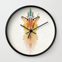 spirit Wall Clocks featuring fox spirit  by Manoou