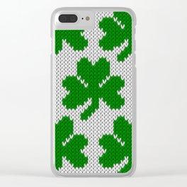 Shamrock pattern - white, green Clear iPhone Case