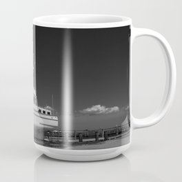 Eastern Shore boat in dry dock (black and white) Coffee Mug