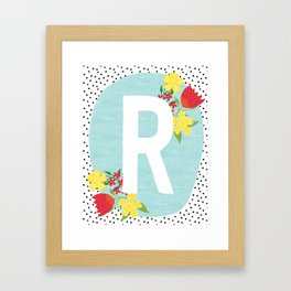 R botanical monogram. Letter initial with tulips and daffodils poster Framed Art Print