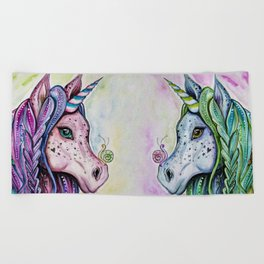 Pink Unicorn - Watercolor/inks by: Dominique Lacroix Beach Towel