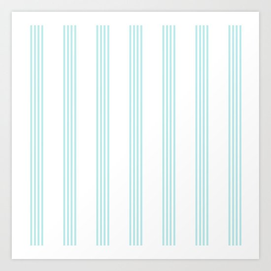 Striped I - Turquoise stripes on white- Beautiful summer pattern Art Print