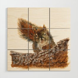 Cheeky the Red Squirrel by Teresa Thompson Wood Wall Art