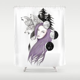 Three Moons Shower Curtain