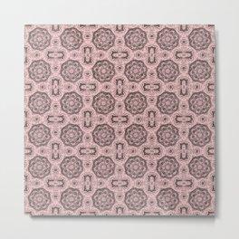 Rose Quartz Doily Floral Metal Print